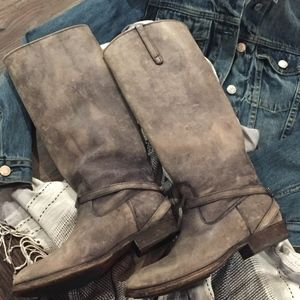 Frye Lindsay Plate Distressed Gray Tall Boot